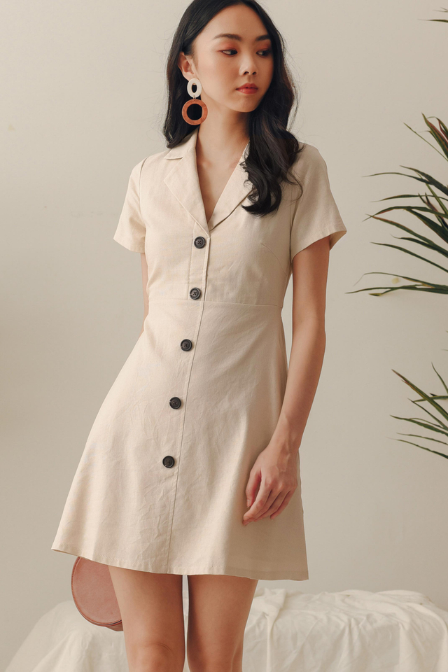 SARIYA LINEN DRESS IN ECRU