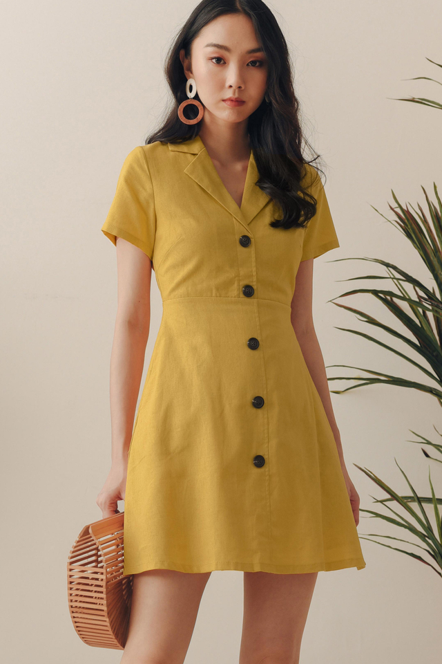 SARIYA LINEN DRESS IN MUSTARD