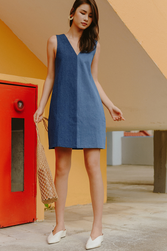COLOURBLOCK DENIM DRESS