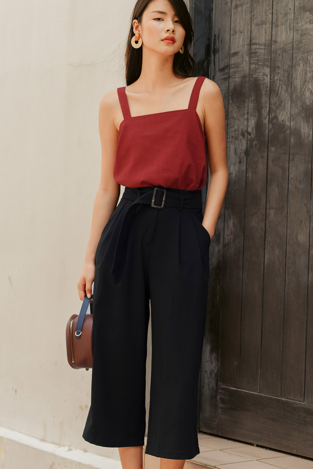 *BACKORDER* JAN BUCKLE CULOTTES IN BLACK