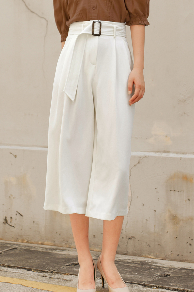 *RESTOCKED* JAN BUCKLE CULOTTES IN WHITE