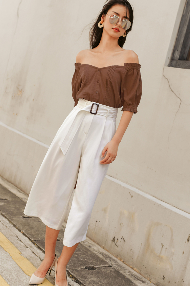*BACKORDER* JAN BUCKLE CULOTTES IN WHITE
