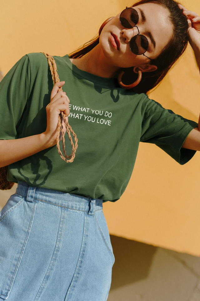 *BACKORDER* LOVE WHAT YOU DO TEE IN OLIVE