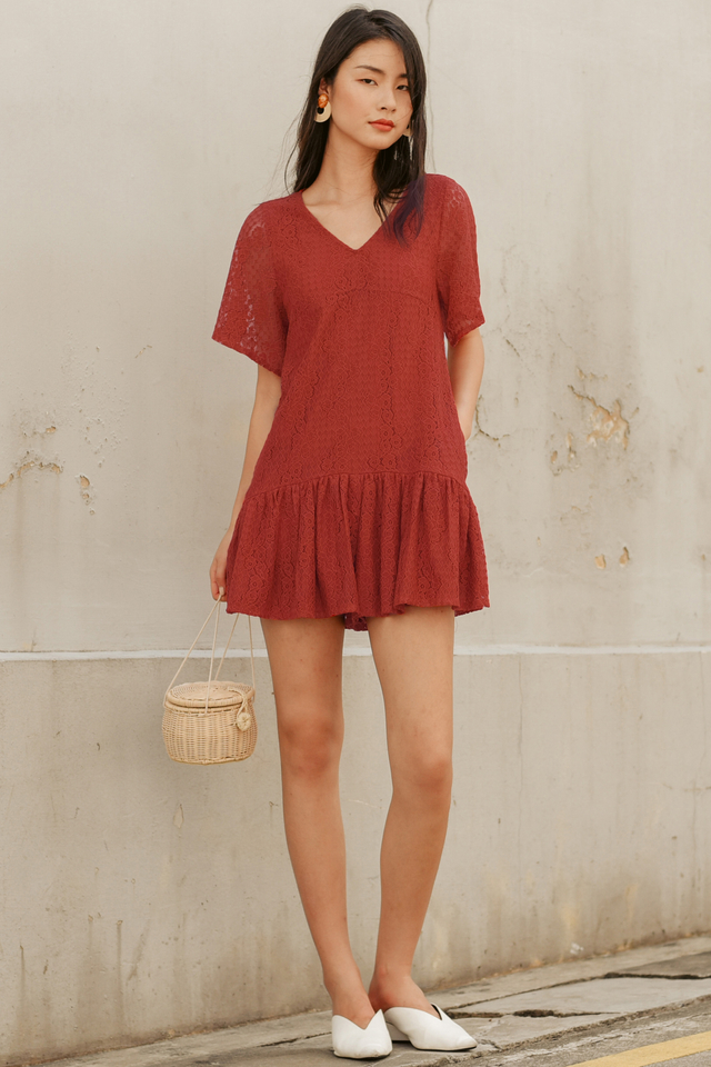 TYLER LACE PLAYSUIT IN RUST BRICK