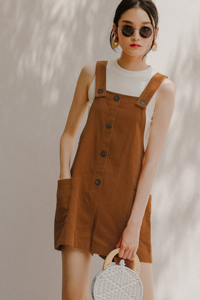 CARLOW DUNGAREE PLAYSUIT IN MAPLE