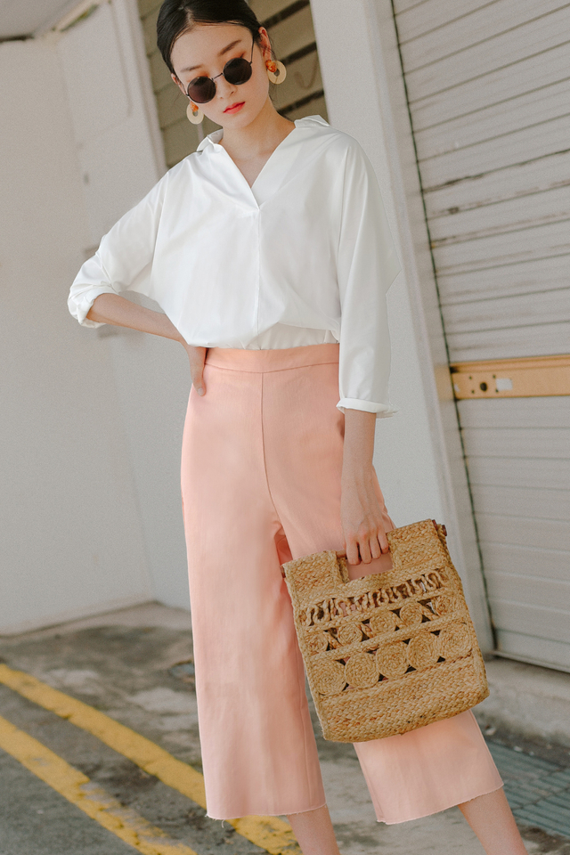 FRAZER DENIM CULOTTES IN PEACH PINK
