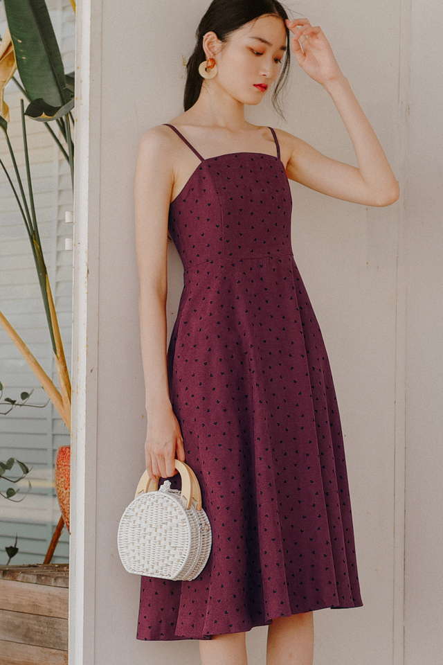 HAYDEN HEARTS MIDI IN MULBERRY
