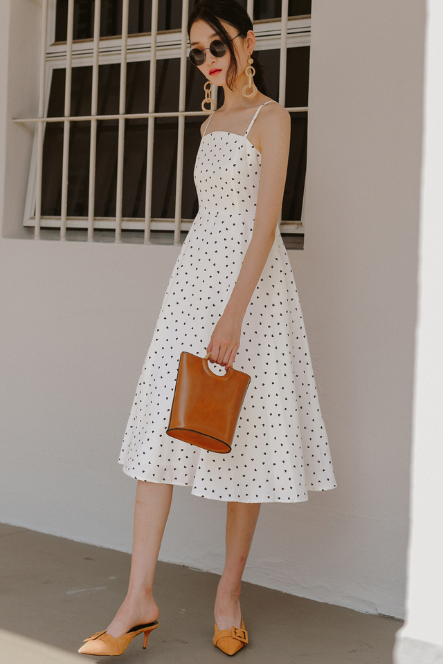 HAYDEN HEARTS MIDI IN WHITE