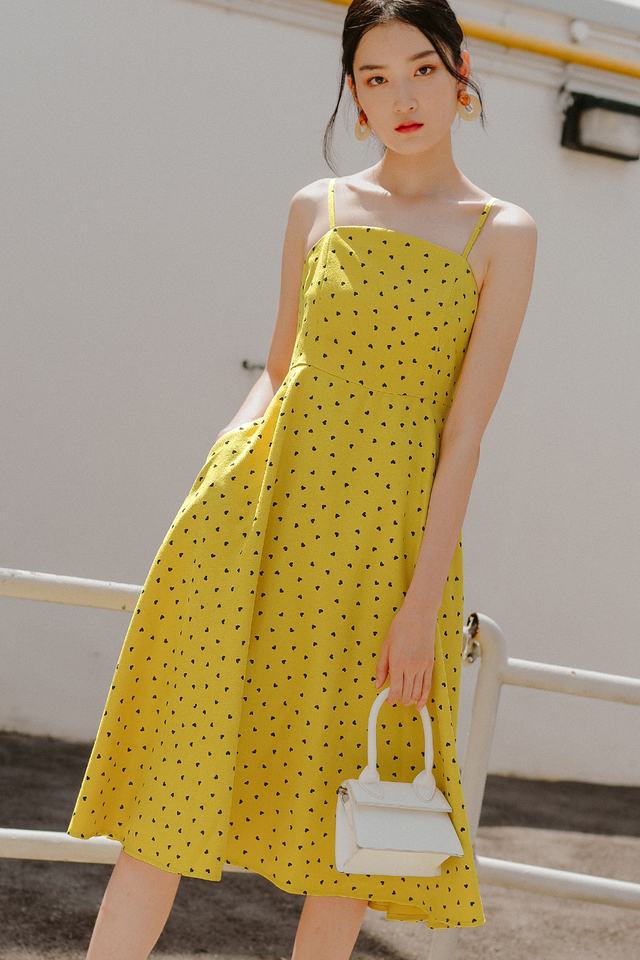 HAYDEN HEARTS MIDI IN YELLOW