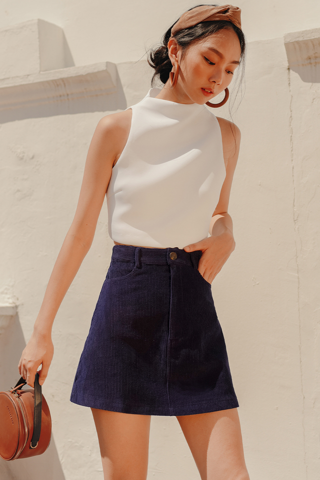 LOGAN CORDUROY SKIRT IN INDIGO BLUE