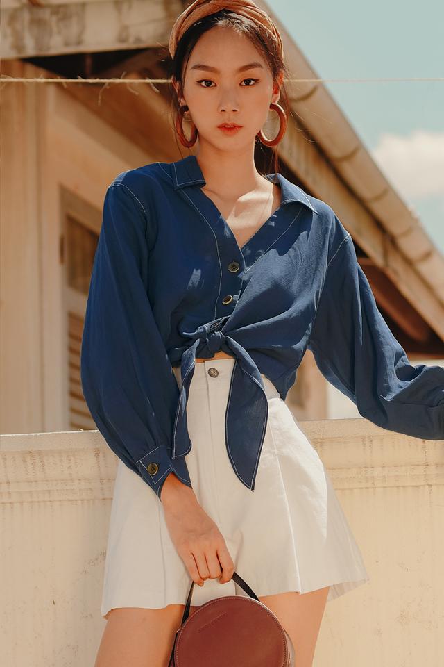 MACO TIE SHIRT IN BLUE