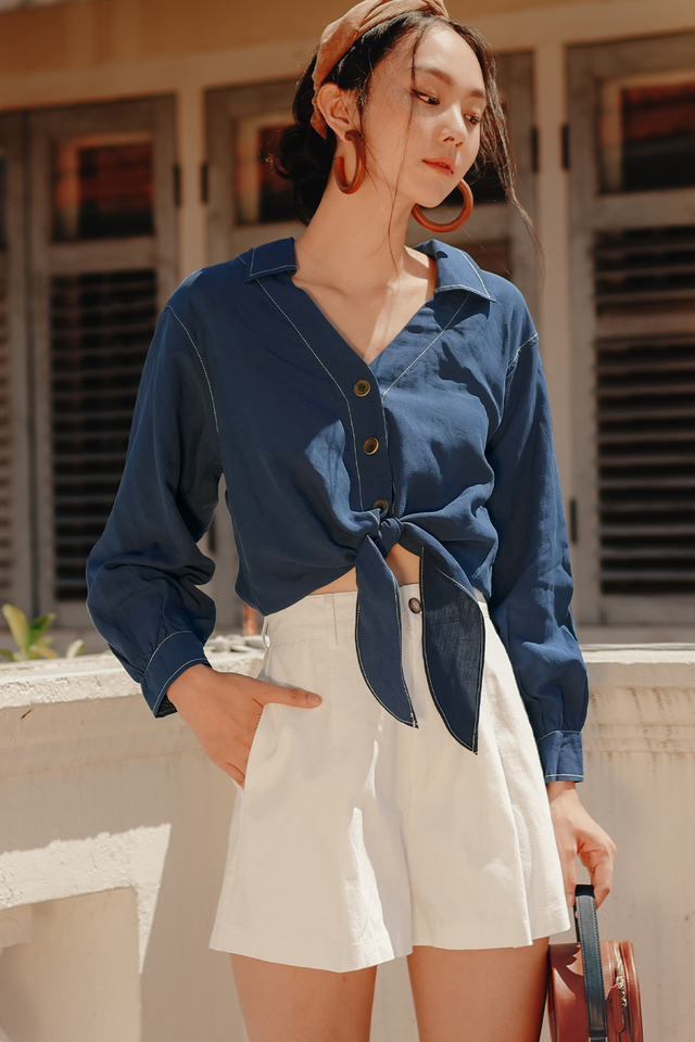 MACO TIE SHIRT IN BLUE