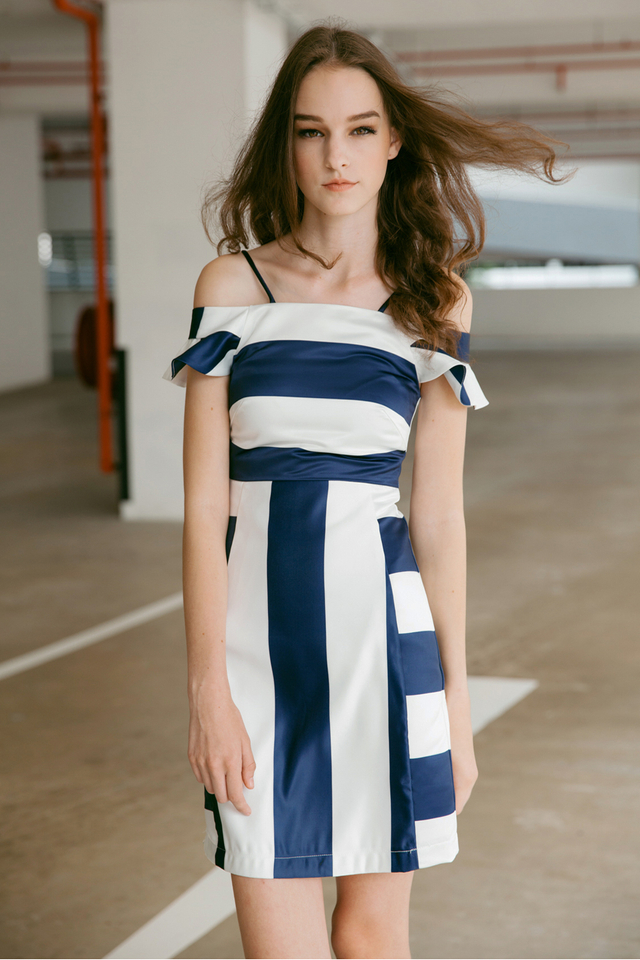*BRIDGE* Striped Flutter Dress in Navy