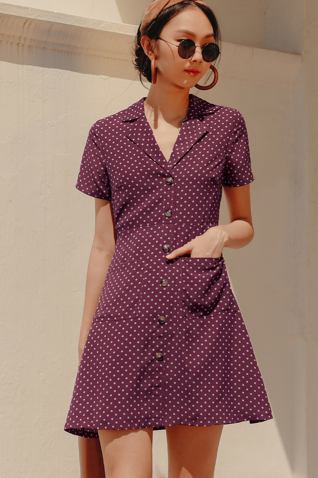 THEO POLKA DOT DRESS IN MULBERRY
