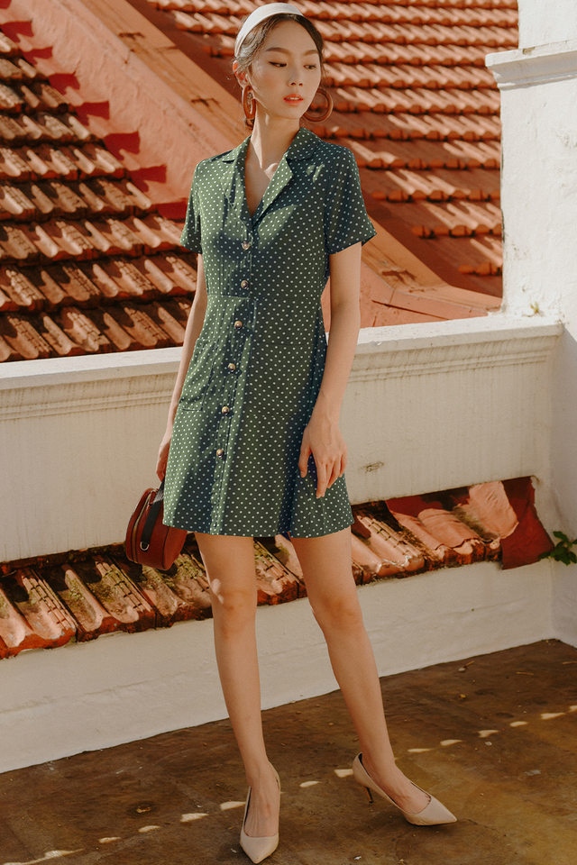 THEO POLKA DOT DRESS IN OLIVE