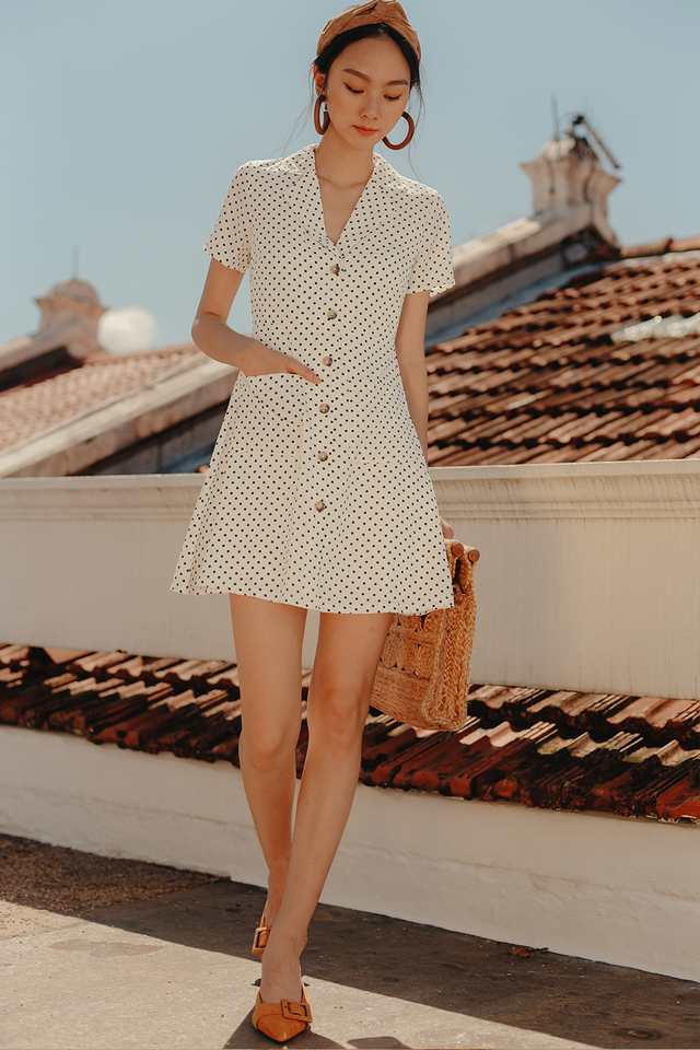 THEO POLKA DOT DRESS IN WHITE