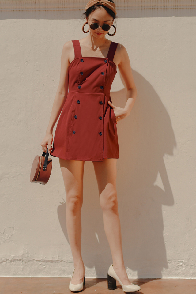 VANIA BUTTON PLAYSUIT IN RUST BRICK