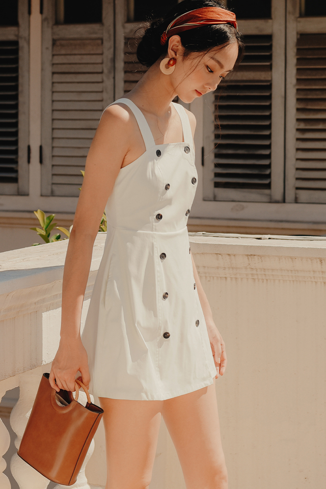 VANIA BUTTON PLAYSUIT IN WHITE