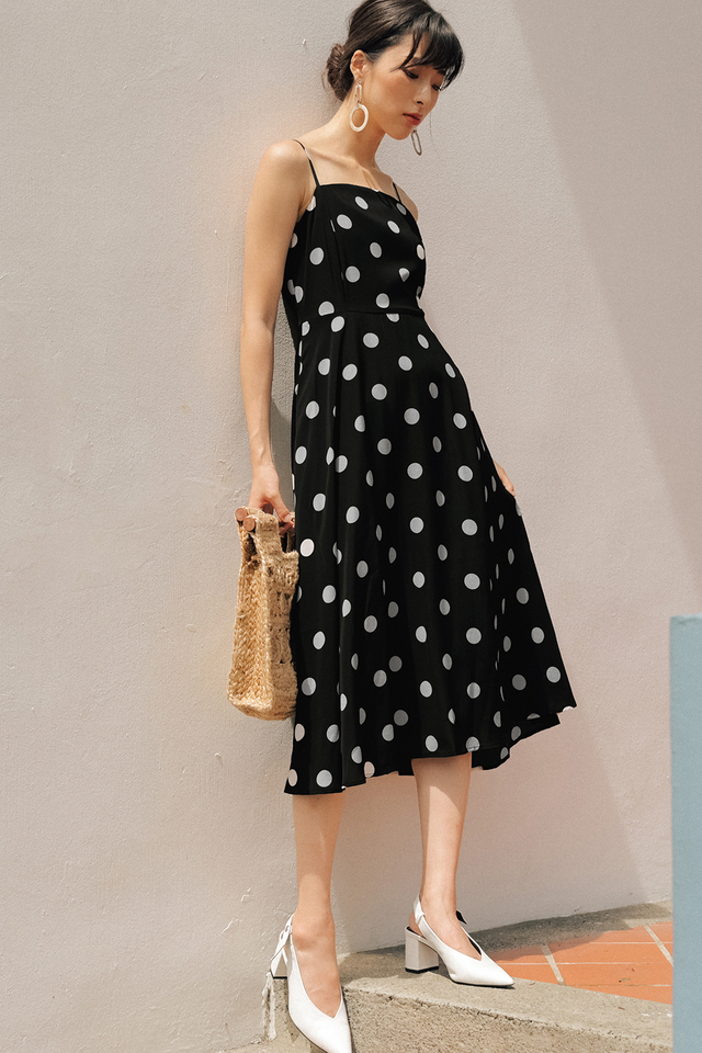 ELLIS POLKA DOT MIDI IN BLACK