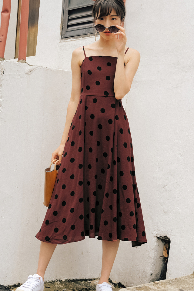 ELLIS POLKA DOT MIDI IN MARSALA