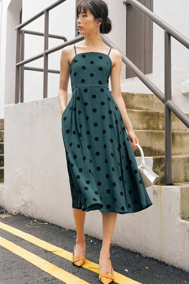 ELLIS POLKA DOT MIDI IN TEAL