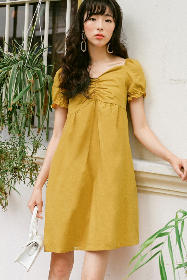 HILA BABYDOLL DRESS IN MUSTARD