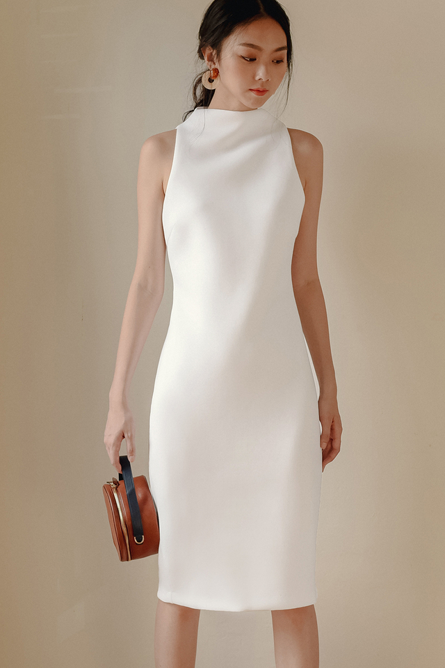 *RESTOCKED* KENZIE SHEATH MIDI IN WHITE