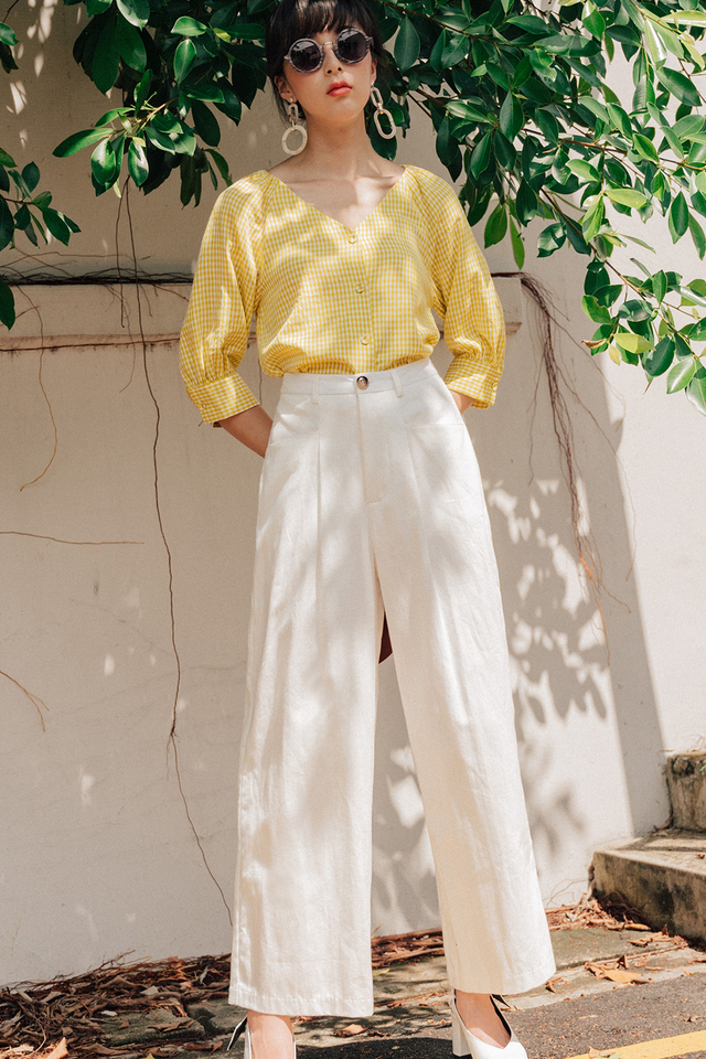 MICAH LINEN PANTS IN WHITE