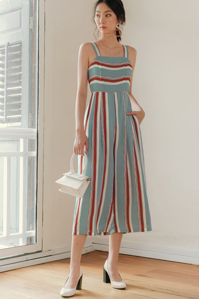 NEIL STRIPED JUMPSUIT IN BLUE