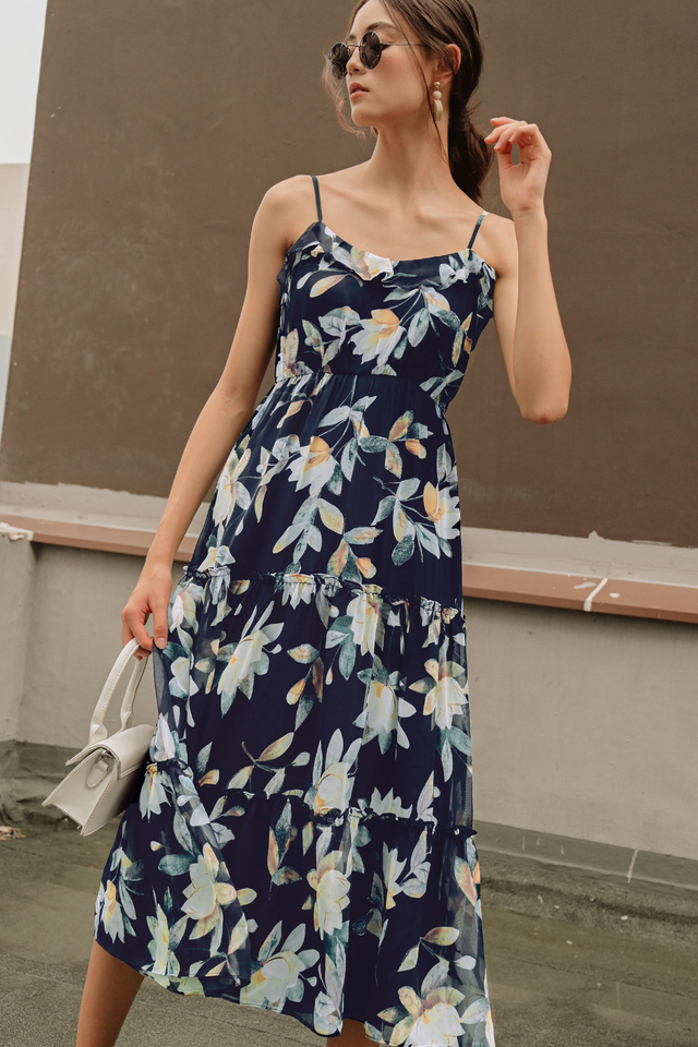 LANA RUFFLE MAXI IN NAVY