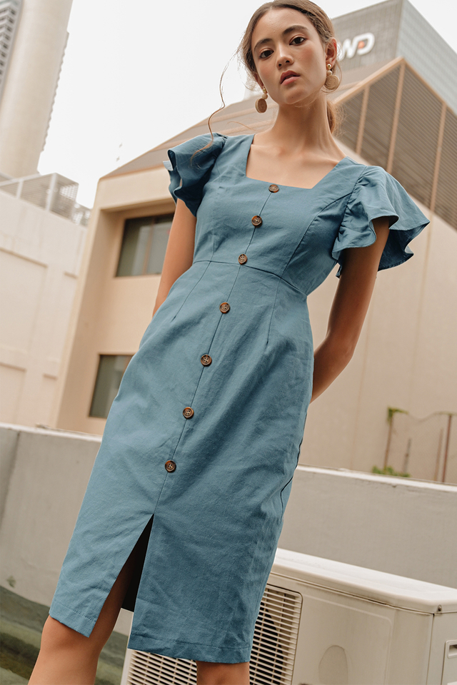 RENEE BUTTON MIDI IN ASH BLUE