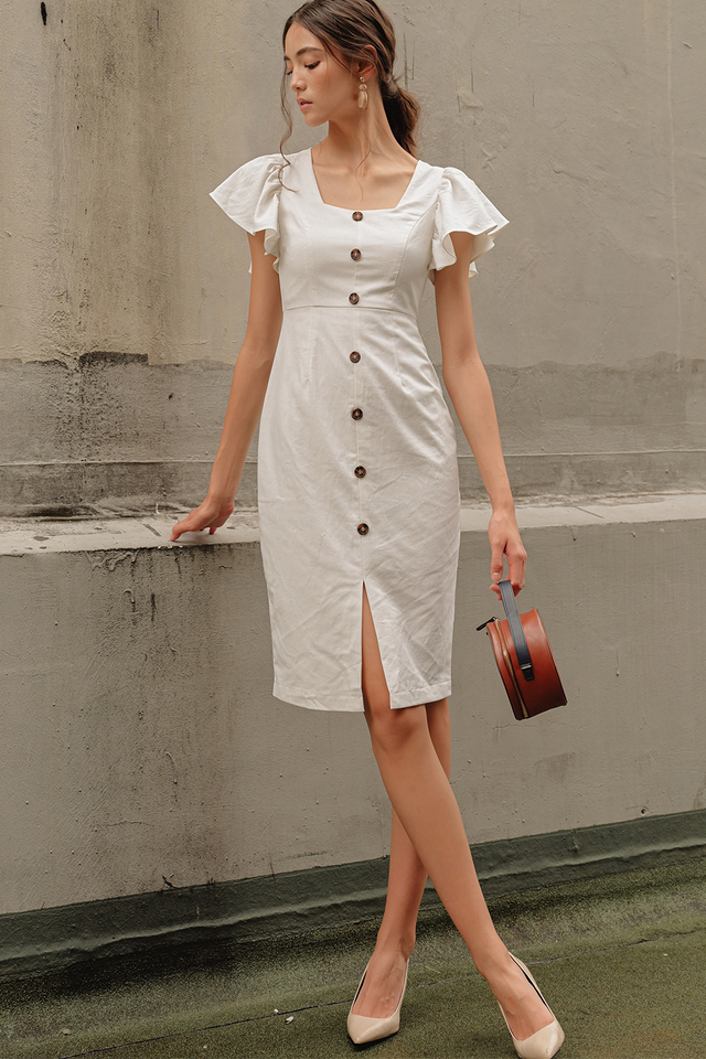 *BACKORDER* RENEE BUTTON MIDI IN WHITE