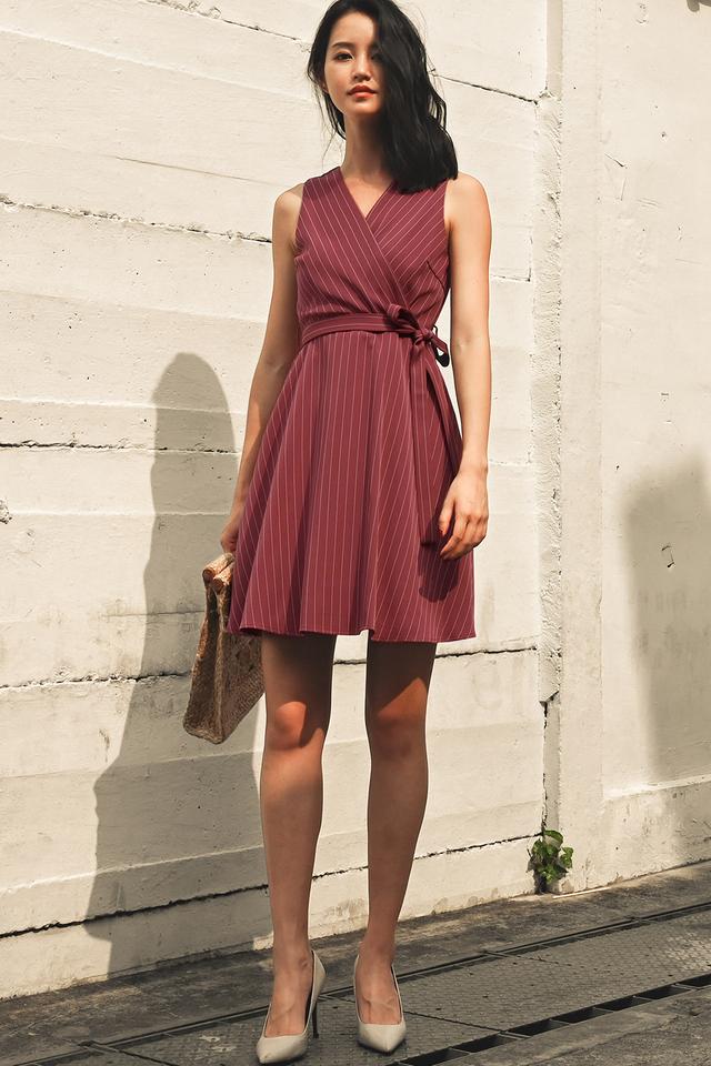 SHELDON STRIPE DRESS IN BURGUNDY