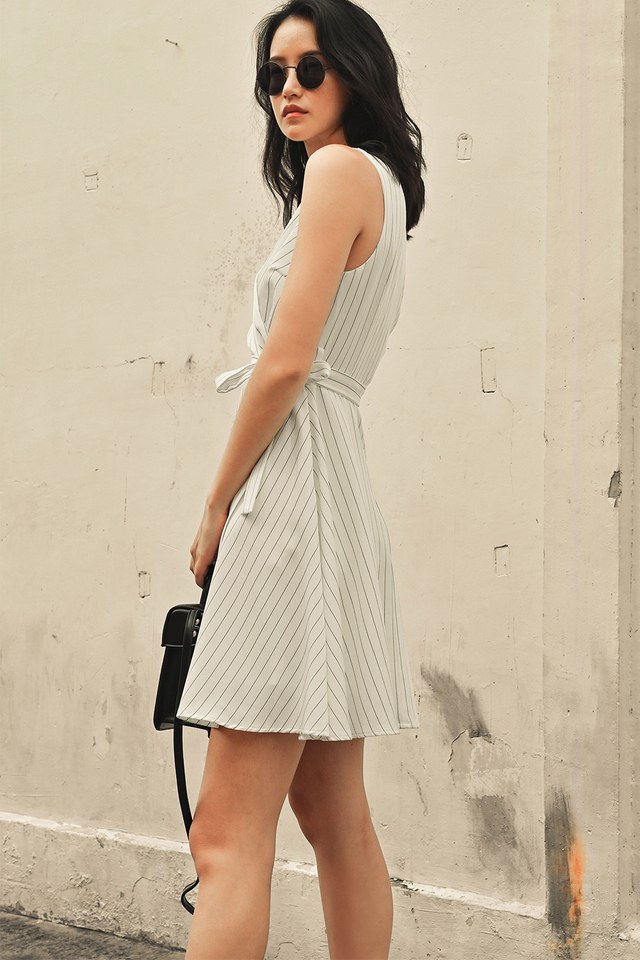 SHELDON STRIPE DRESS IN WHITE