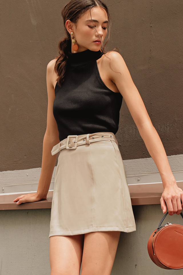 TATE BELTED SKIRT IN ALMOND