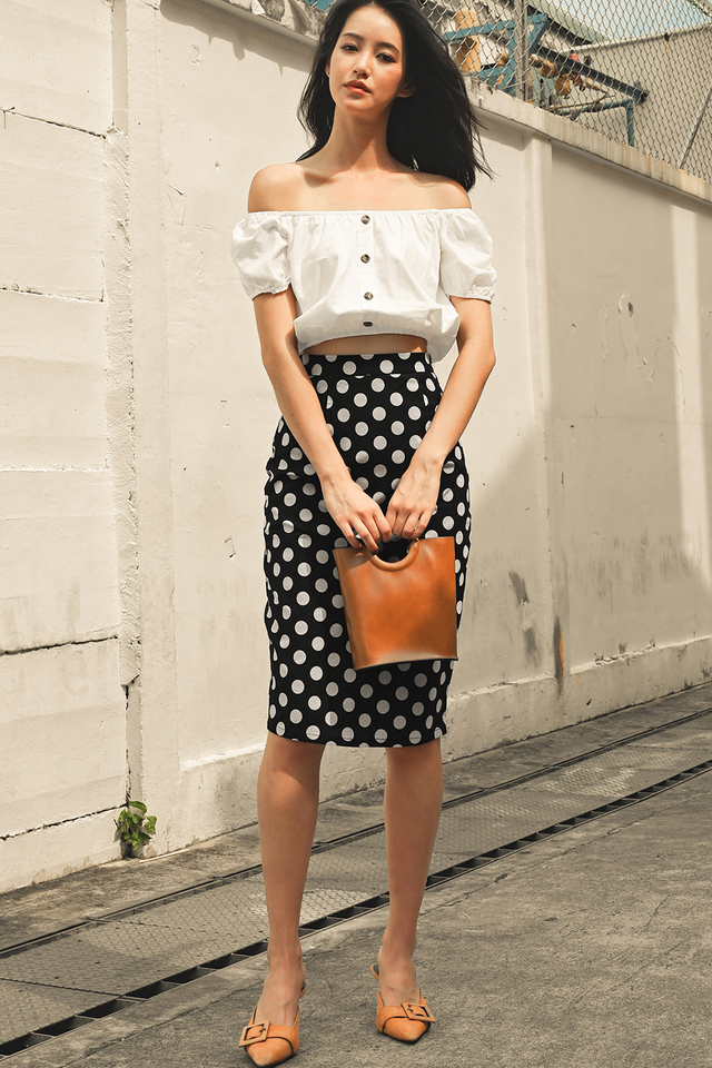 TODD POLKA DOT SKIRT IN BLACK