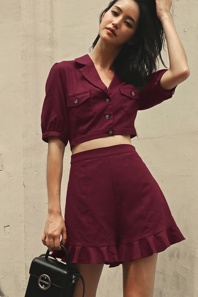 WARREN LINEN SKORTS IN BURGUNDY