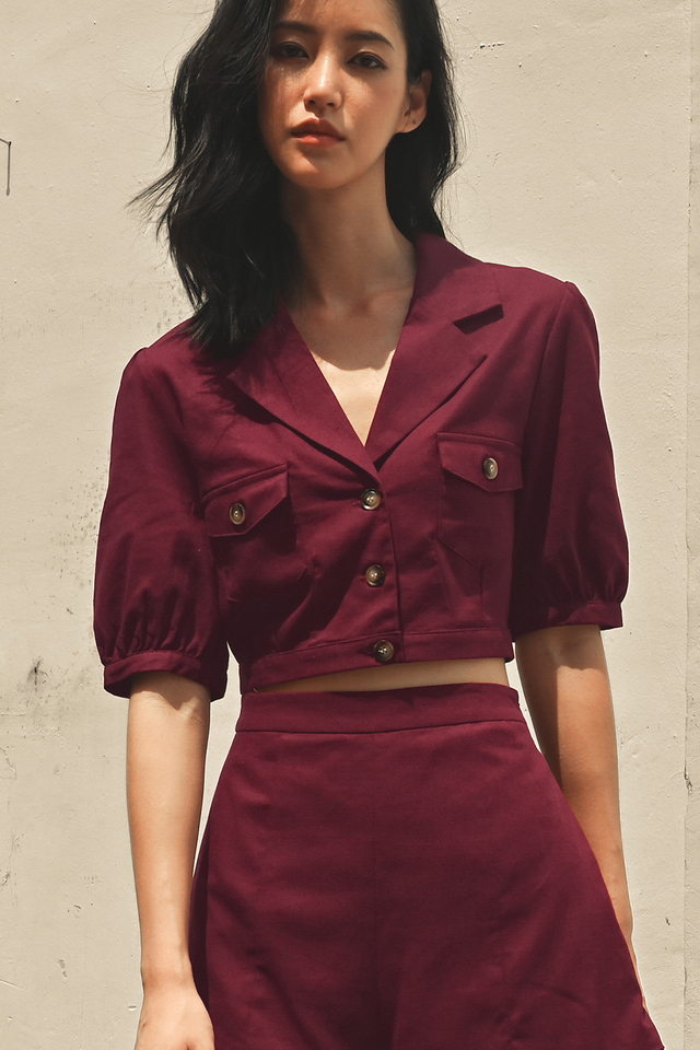 WARREN LINEN TOP IN BURGUNDY