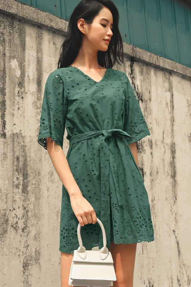WILLIS EYELET DRESS IN SAGE