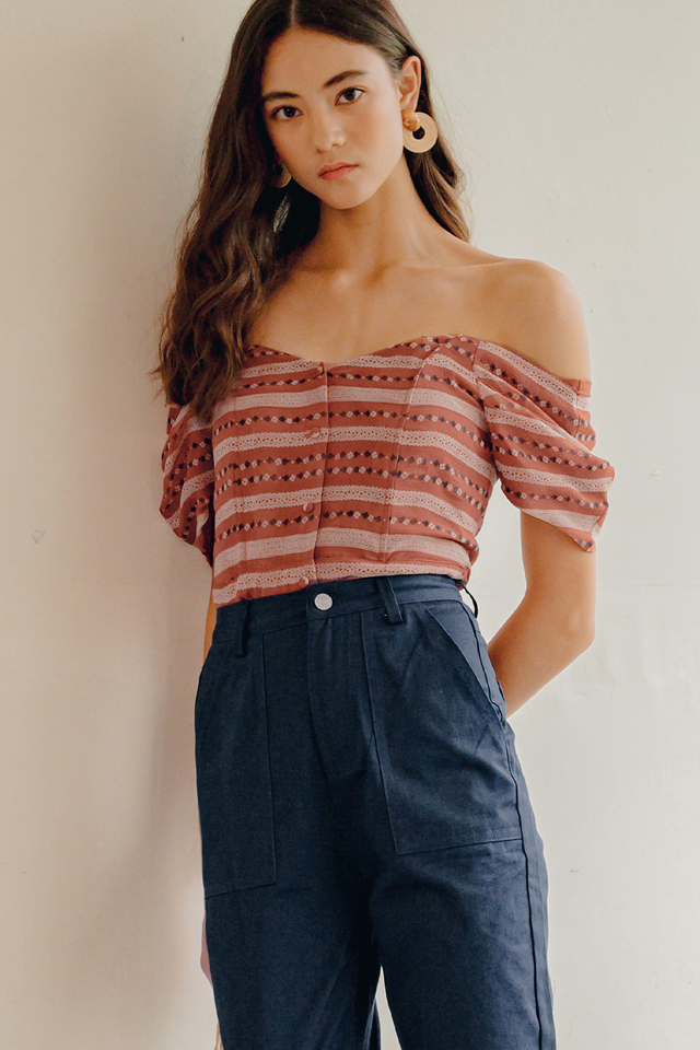 BETHANY OFF SHOULDER TOP IN ROSEWOOD