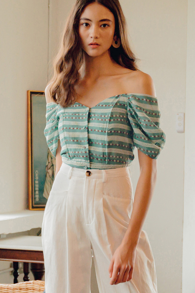 BETHANY OFF SHOULDER TOP IN SEAFOAM