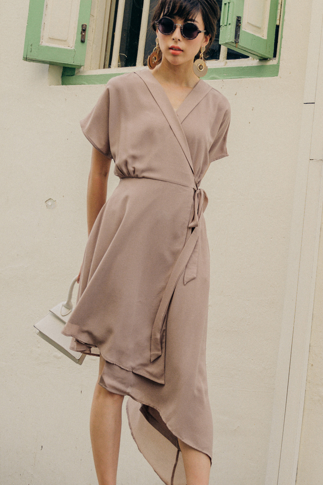 EMMY WRAP DRESS IN TAUPE