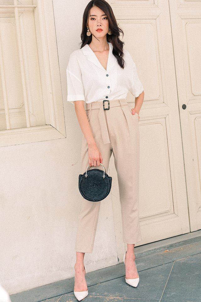 ALANA BUCKLE PANTS IN ALMOND