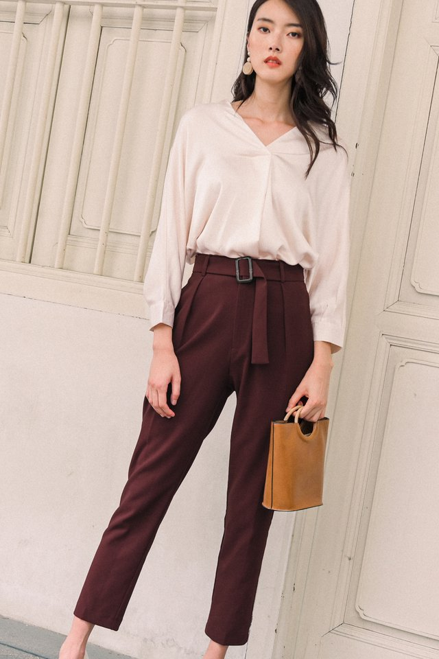 ALANA BUCKLE PANTS IN OXBLOOD