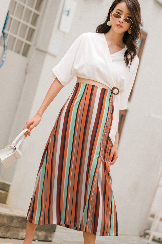 DENVER STRIPE MAXI IN RUSSET