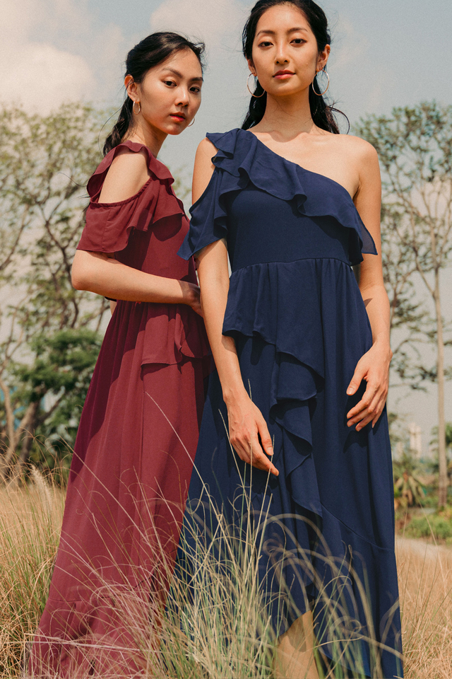 ELVITA TOGA MAXI IN NAVY