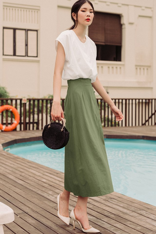 LEONA LINEN MAXI IN OLIVE