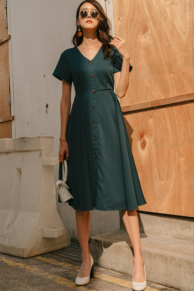 MADDIE BUTTON MIDI IN TEAL MOSS