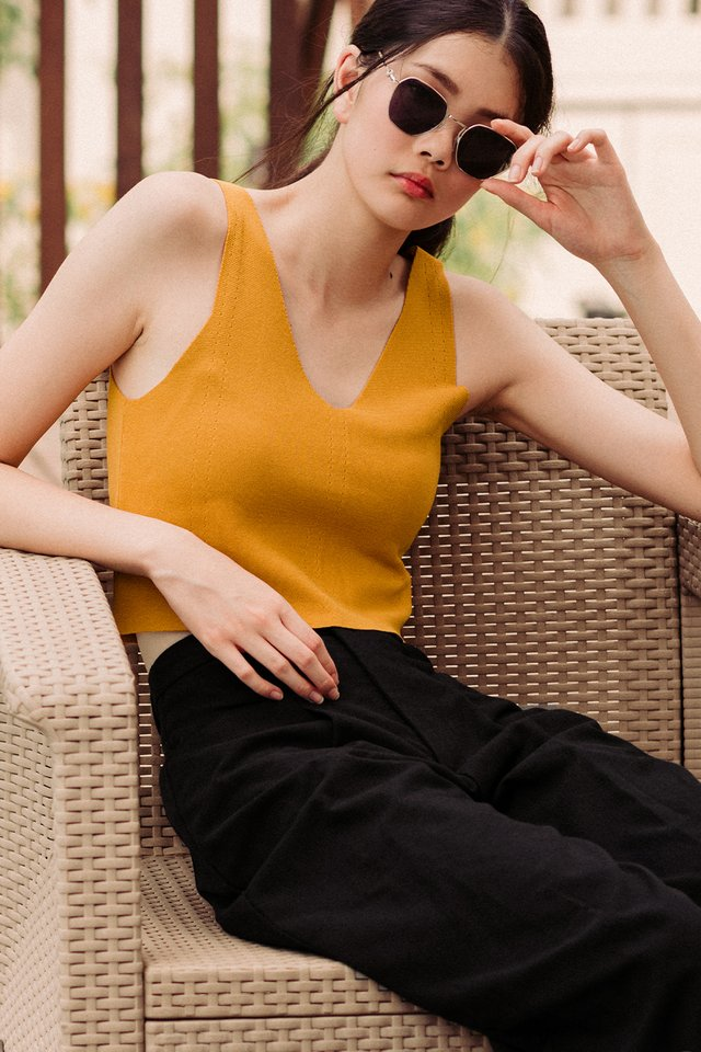 MAISIE KNIT TOP IN MUSTARD