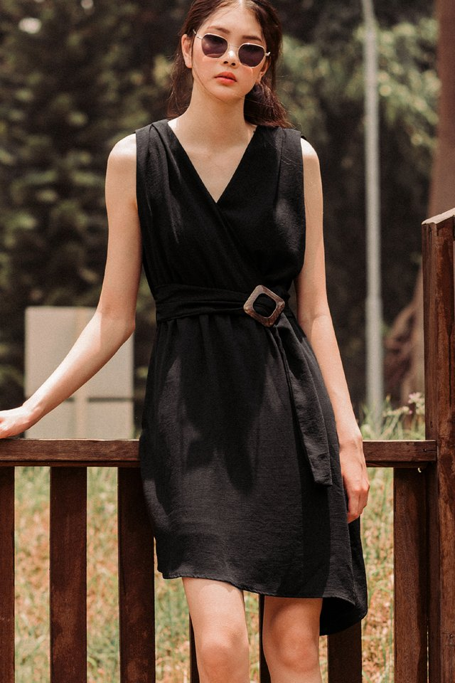 RHEA BUCKLE DRESS IN BLACK